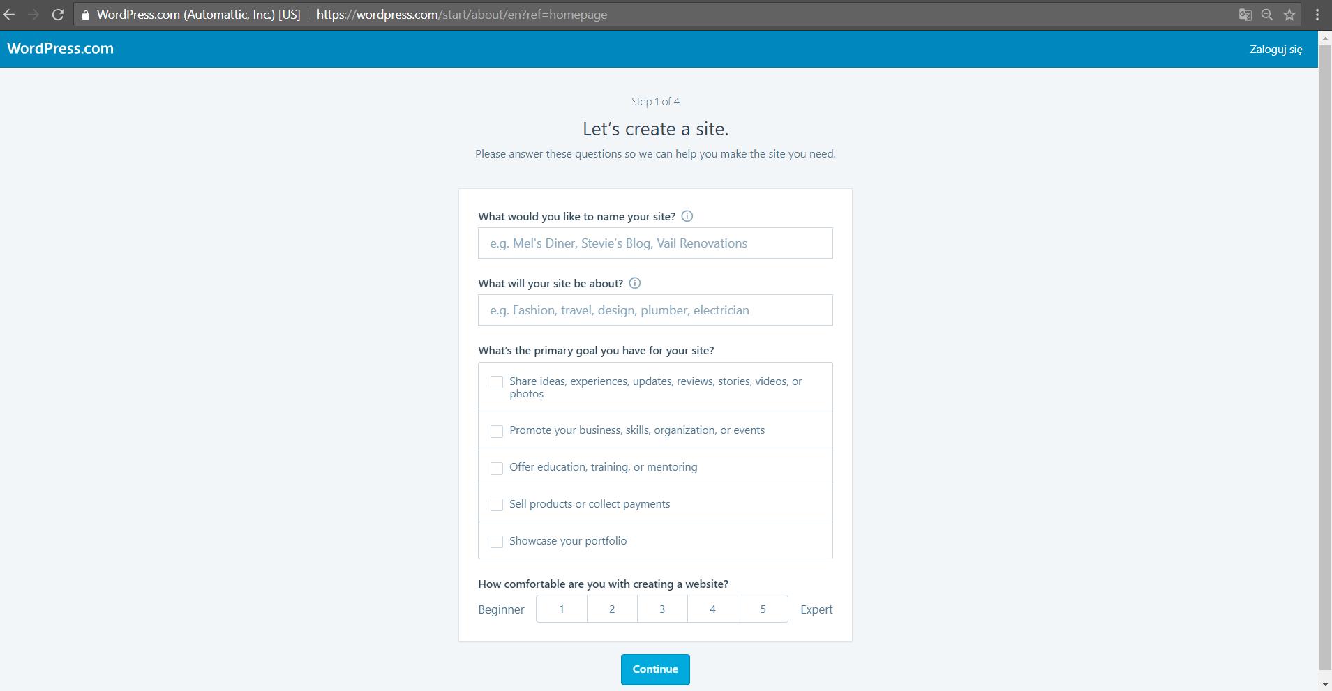wordpress.com setup