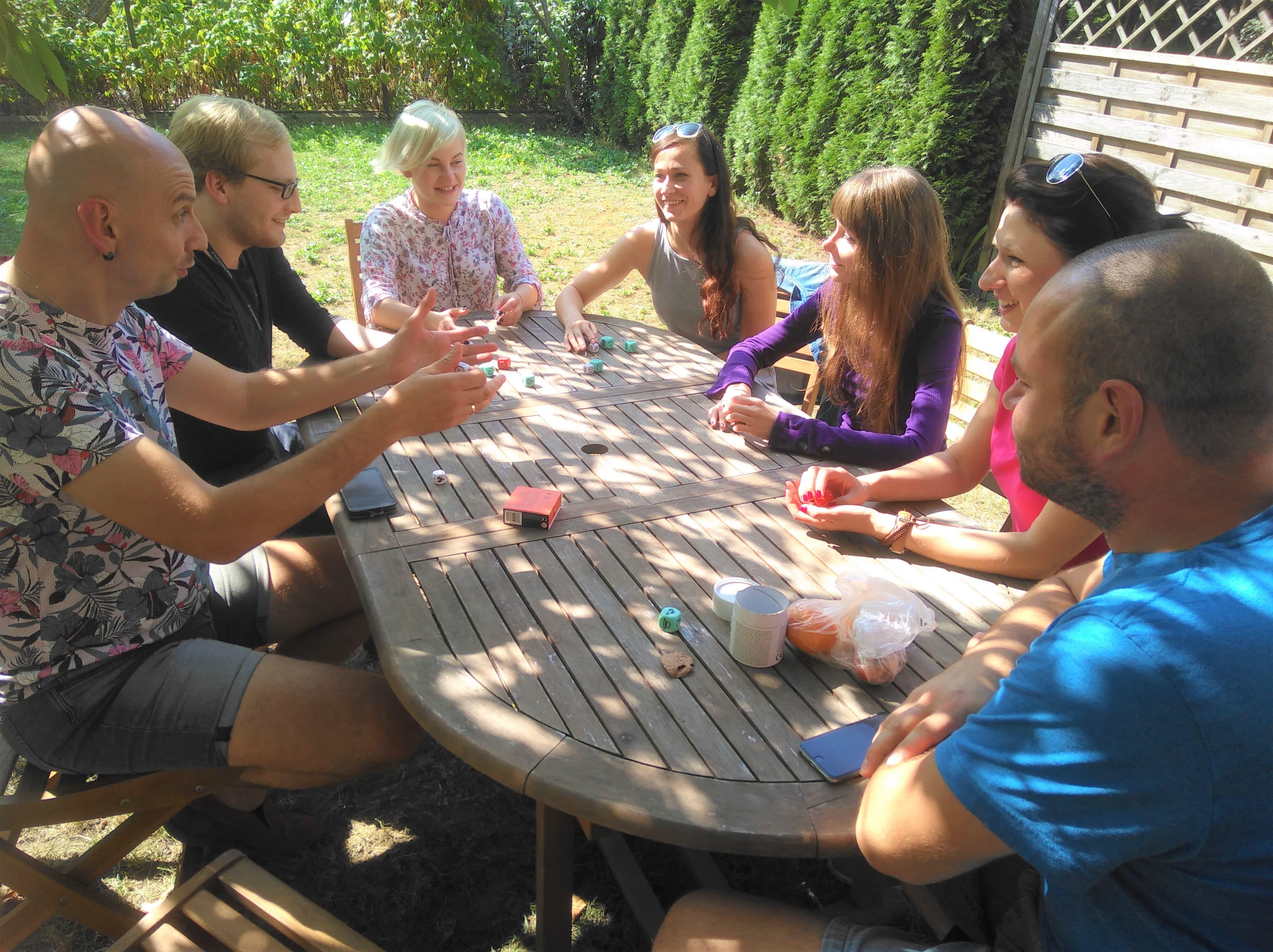 english club playing story cubes